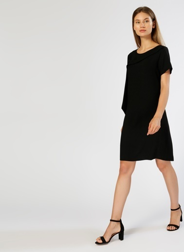 House Of Camellia Kısa Kollu Düz Elbise Siyah
